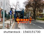 Small photo of Red construction delimitation area in downtown Bucharest, Romania, 2019