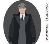 gangster with cap on gray... | Shutterstock .eps vector #1560179930