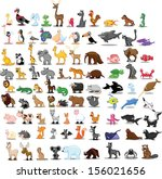 Stock vector super set of cute cartoon animals 156021656