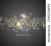 happy new year 2020 golden... | Shutterstock .eps vector #1560218693