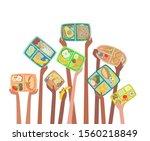 children hands holding up lunch ... | Shutterstock .eps vector #1560218849