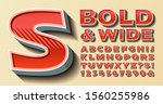 a bold and wide vector alphabet ... | Shutterstock .eps vector #1560255986