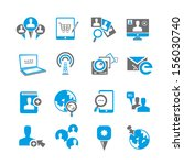 social media icons set | Shutterstock .eps vector #156030740