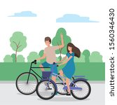 couple of woman and man riding... | Shutterstock .eps vector #1560346430