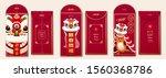 red envelope design with lion... | Shutterstock .eps vector #1560368786