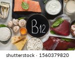 natural sources of vitamin b12  ... | Shutterstock . vector #1560379820