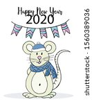 happy new year. cute mouse or...   Shutterstock .eps vector #1560389036
