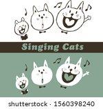 three singing cats. cute animal. | Shutterstock .eps vector #1560398240