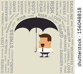 Young businessman with umbrella, Business concept