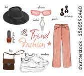 fashion outfit pink peachy...   Shutterstock . vector #1560592460