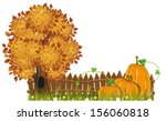 tree and pumpkins with leaves...