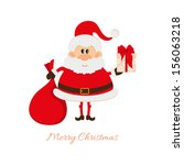 santa claus with a bag of gifts ... | Shutterstock .eps vector #156063218