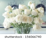 Stock photo white roses in a glass vase 156066740