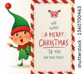 little elf with big signboard.... | Shutterstock .eps vector #1560700463