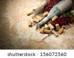 old bottle of wine  grapes and... | Shutterstock . vector #156072560