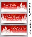 christmas trees on red starry... | Shutterstock .eps vector #1560735296