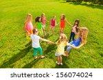 many happy girls play roundelay ... | Shutterstock . vector #156074024