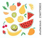 doodle fruits. natural tropical ... | Shutterstock .eps vector #1560750833