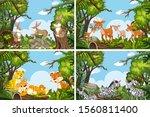 set of various animals in... | Shutterstock .eps vector #1560811400