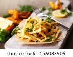 french fries on tracing paper...   Shutterstock . vector #156083909