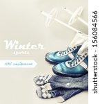 old ski equipment   ski shoes...   Shutterstock . vector #156084566