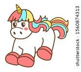 cartoon cute kawaii unicorn on... | Shutterstock .eps vector #1560874313