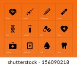 medical icons on orange... | Shutterstock .eps vector #156090218