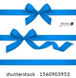 holiday blue bow with ribbon.... | Shutterstock .eps vector #1560903953