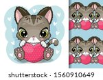 cute cartoon kitten with heart... | Shutterstock .eps vector #1560910649