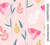 hand drawn floral seamless... | Shutterstock .eps vector #1560950333