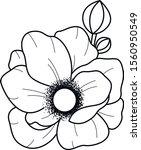 black and white flower bloom art | Shutterstock .eps vector #1560950549