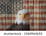 Faded Vintage American Flag And ...