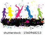 colorfull silhouette of... | Shutterstock . vector #1560968213