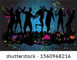 dancing people silhouettes.... | Shutterstock . vector #1560968216