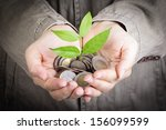 businessman cover growing plant ...   Shutterstock . vector #156099599