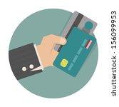 businessman hand holding credit ... | Shutterstock .eps vector #156099953