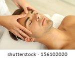 man having head massage close up   Shutterstock . vector #156102020