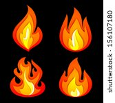 fire symbols set on a black...   Shutterstock .eps vector #156107180