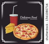 pizza and piece of cheese and... | Shutterstock .eps vector #1561080716