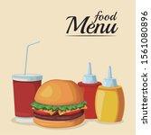 hamburger with sauces bottles... | Shutterstock .eps vector #1561080896