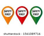 safety first sign on white... | Shutterstock .eps vector #1561089716
