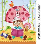 animals,art,bird,book,bookstore,boy,bunny,cartoon,child,childhood,clever,clip art,cloud,concept,copy space