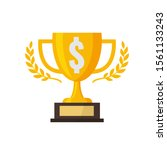 gold trophy with silver dollar... | Shutterstock .eps vector #1561133243