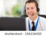 smiling male customer support... | Shutterstock . vector #156116420