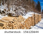 Firewood Stacked In Winter....