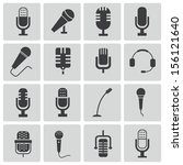 vector black  microphone  icons ... | Shutterstock .eps vector #156121640