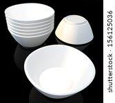 3d clean white salad bowl  soup ... | Shutterstock . vector #156125036