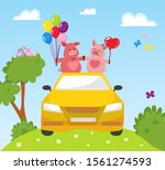 couple two happy pink pigs in... | Shutterstock .eps vector #1561274593
