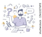 ask me and receive answers. man ... | Shutterstock .eps vector #1561327693