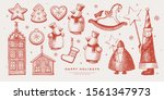collection of christmas toys... | Shutterstock .eps vector #1561347973